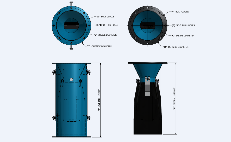 Габаритные размеры клапана Aerodyne Vacu-Valve Armadillo